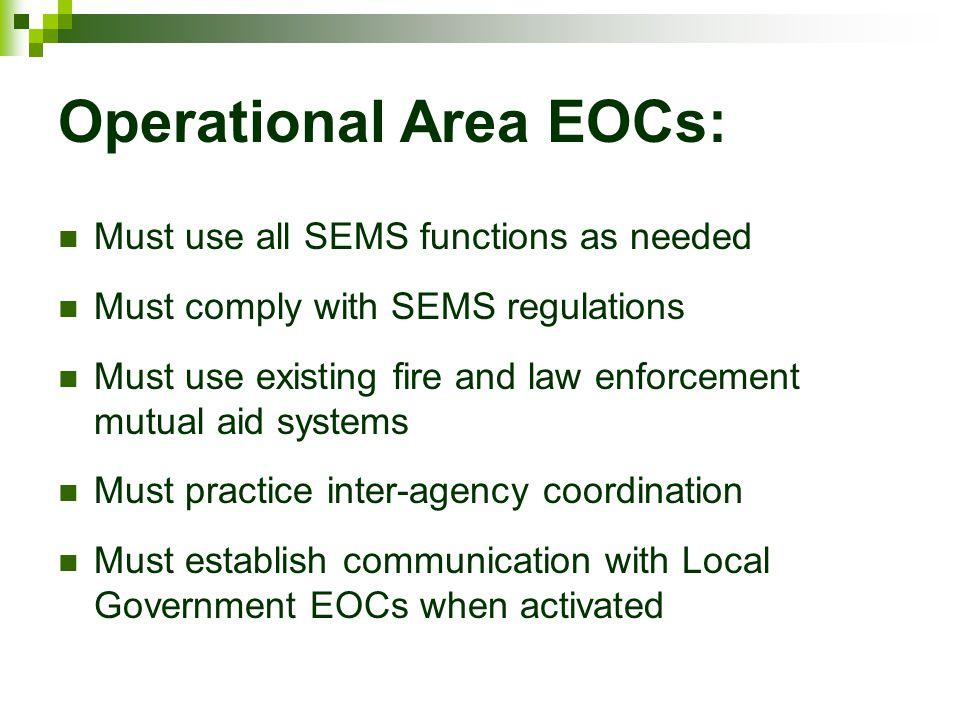 Operational Area EOCs: