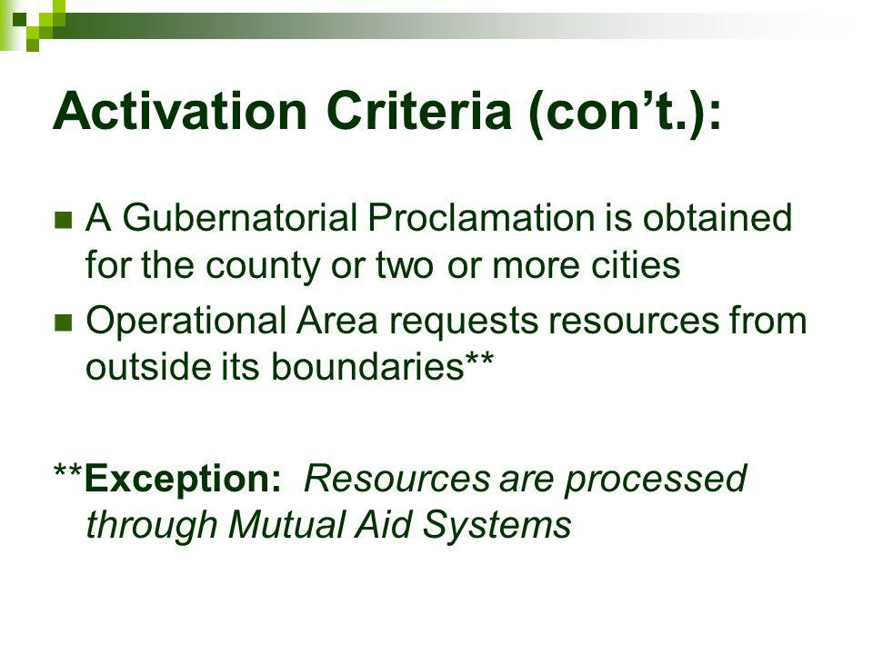 Activation Criteria (con't.):
