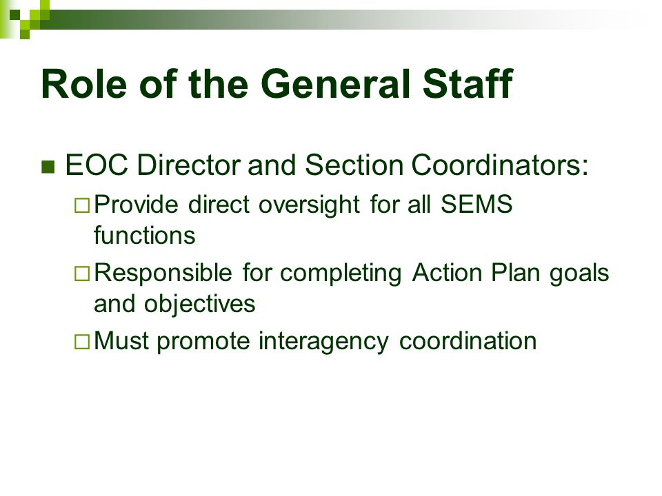 Role of the General Staff