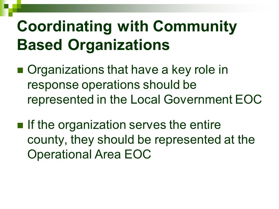 Coordinating with Community Based Organizations