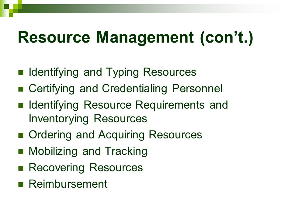 Resource Management (con't.)