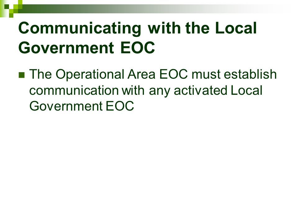 Communicating with the Local Government EOC