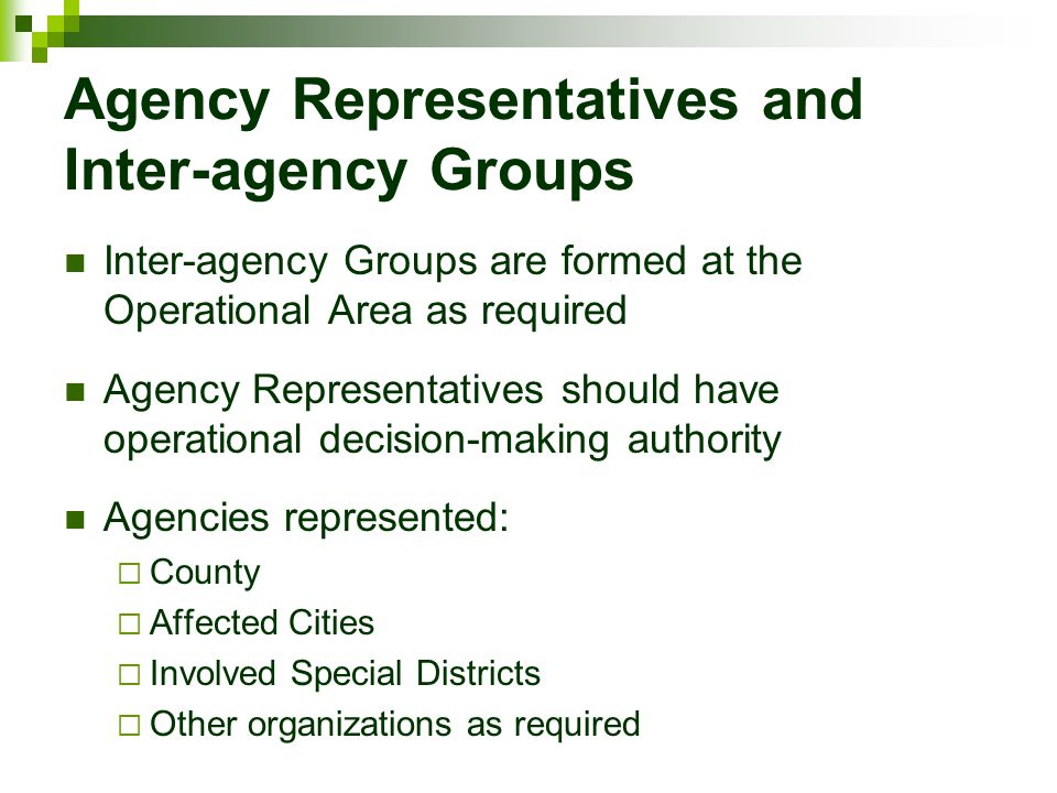 Agency Representatives and Inter-agency Groups