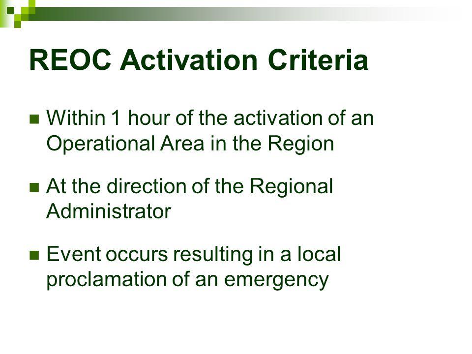 REOC Activation Criteria