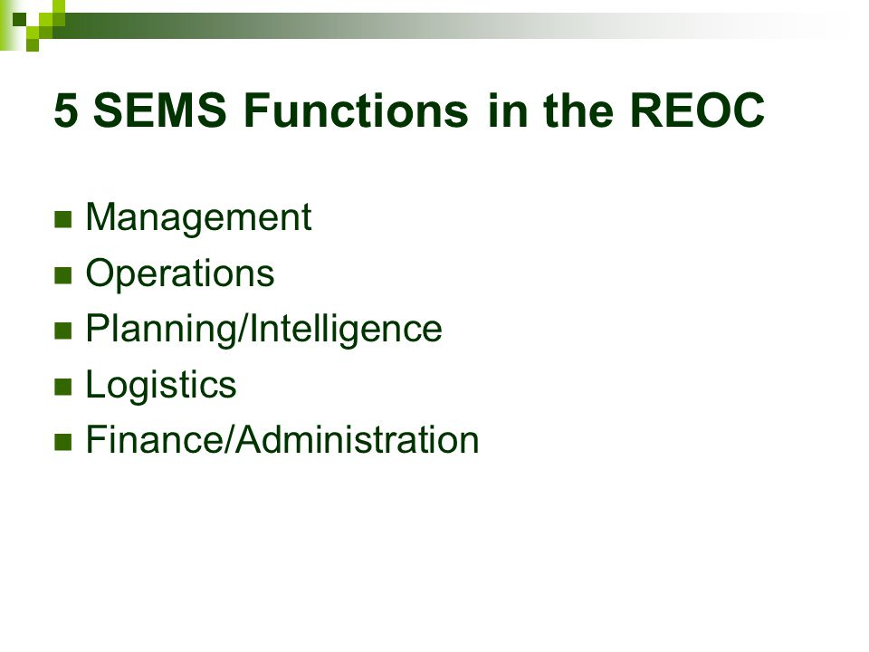 5 SEMS Functions in the REOC