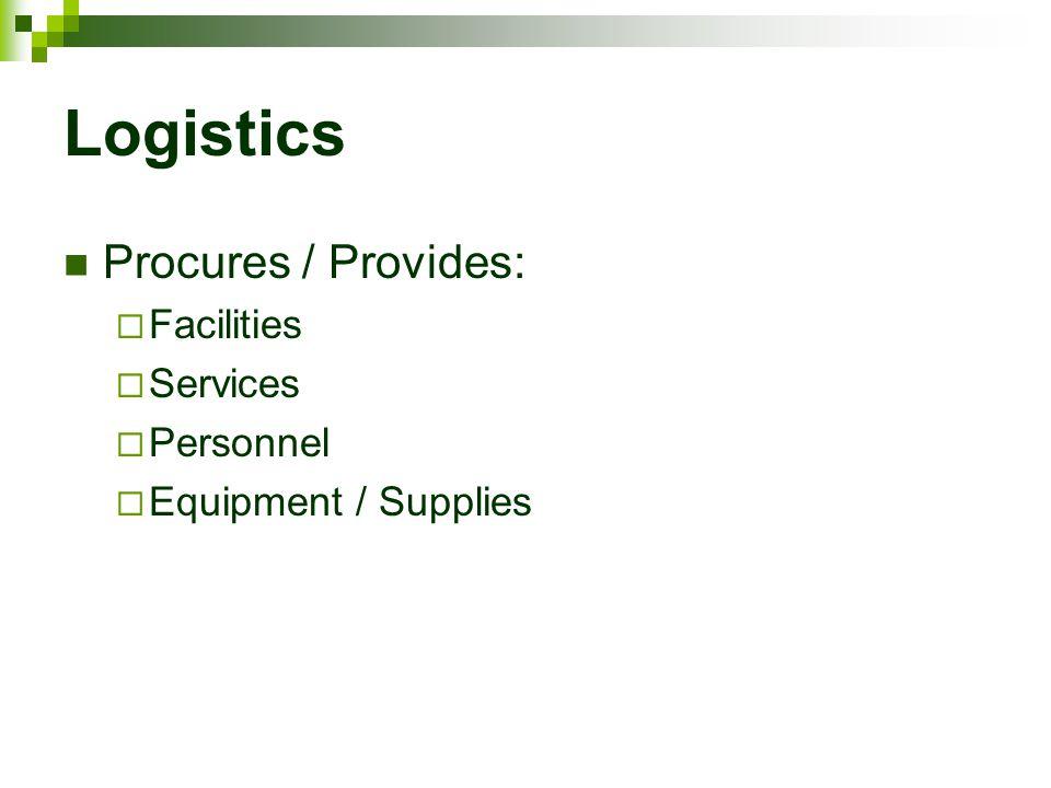 Logistics Procures / Provides: Facilities Services Personnel