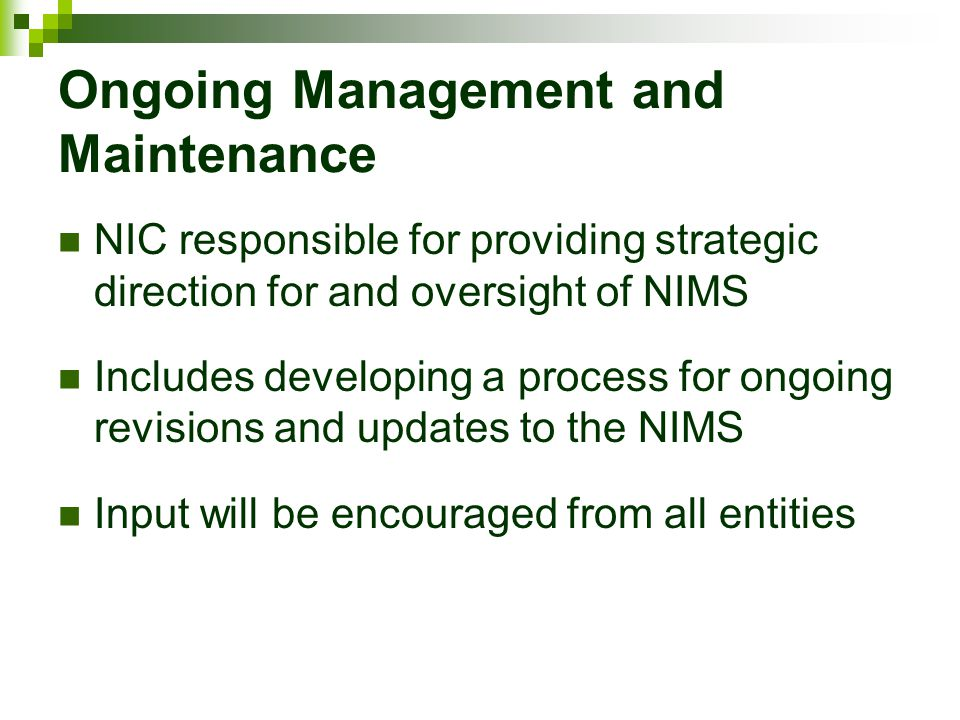 Ongoing Management and Maintenance