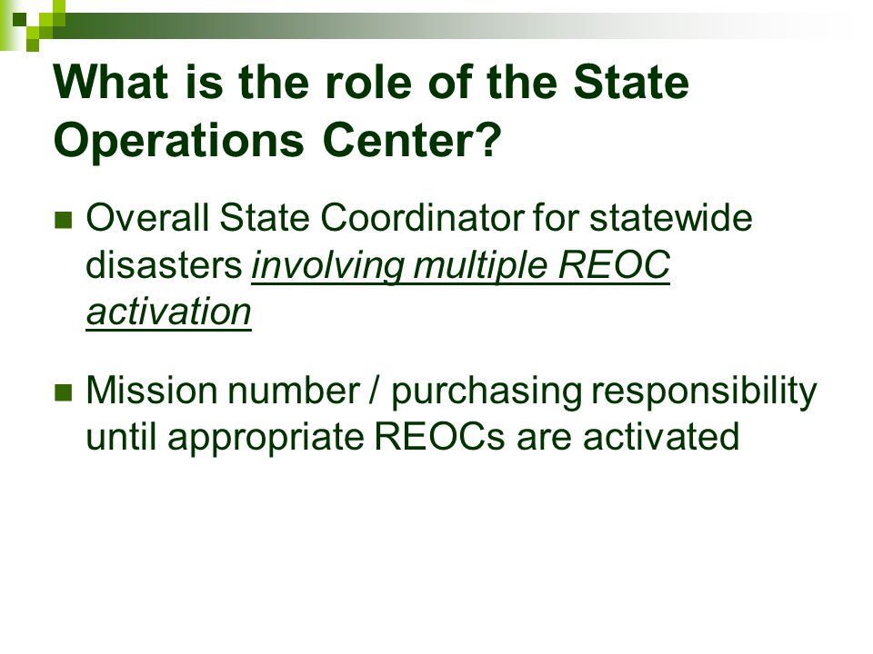What is the role of the State Operations Center