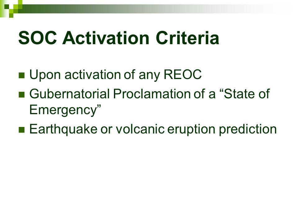 SOC Activation Criteria