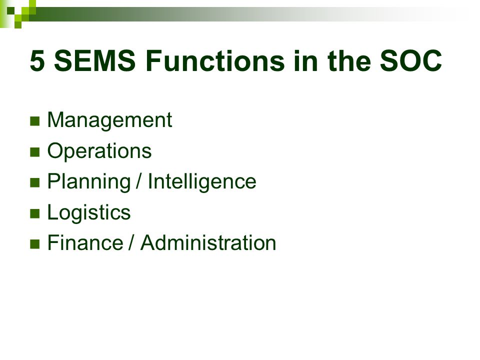 5 SEMS Functions in the SOC