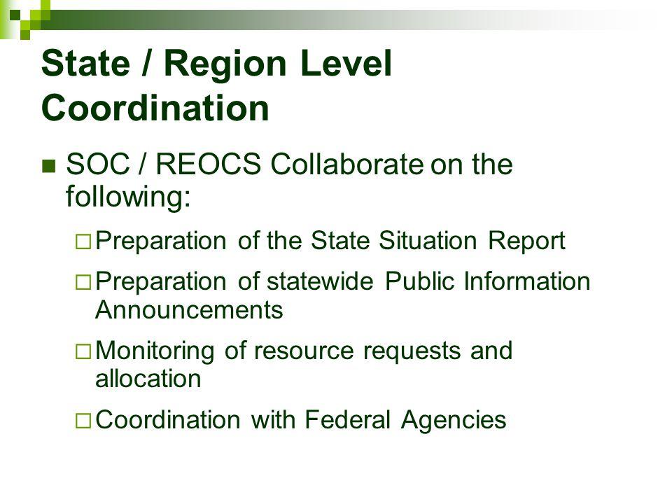 State / Region Level Coordination