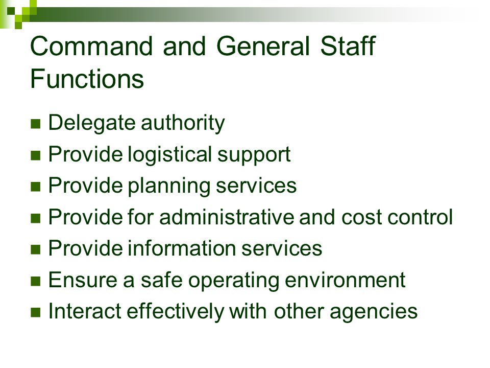 Command and General Staff Functions