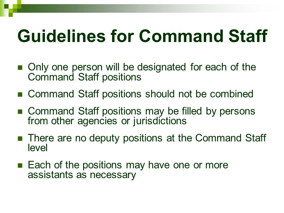 Guidelines for Command Staff