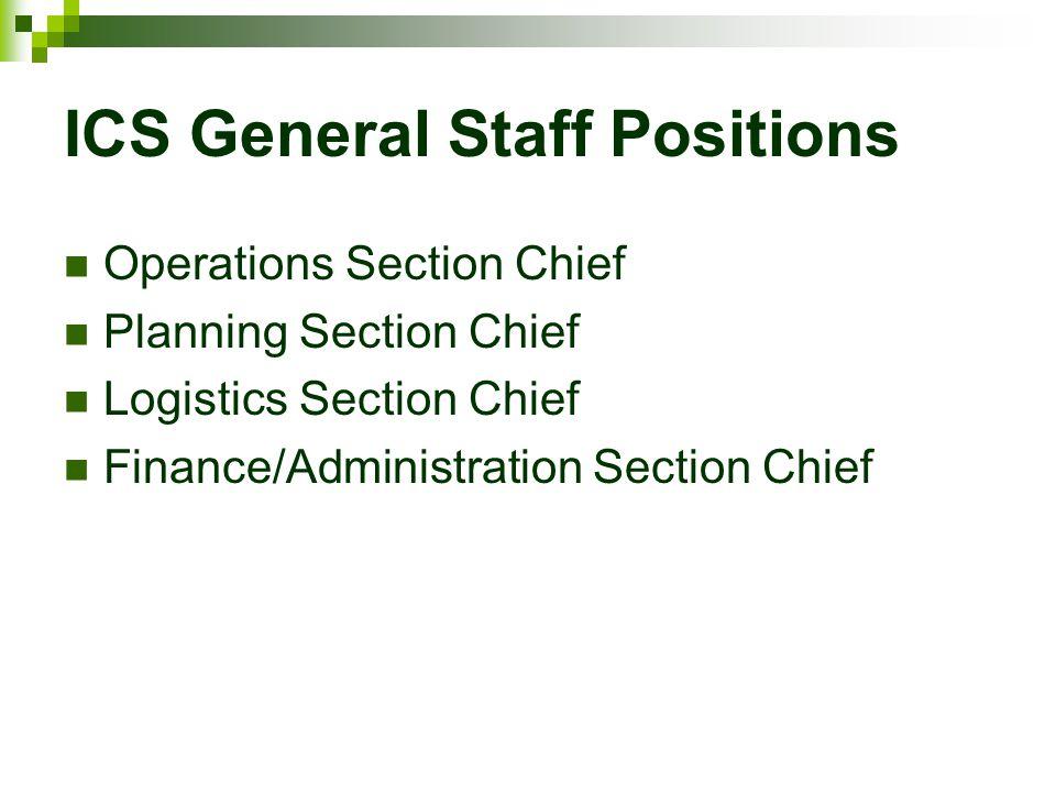 ICS General Staff Positions