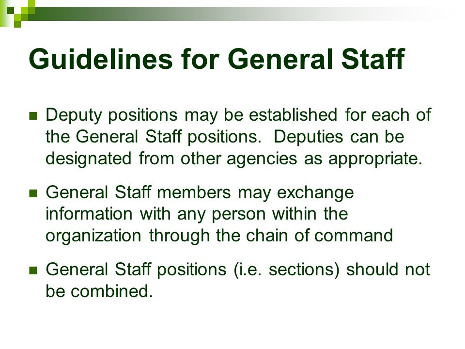 Guidelines for General Staff