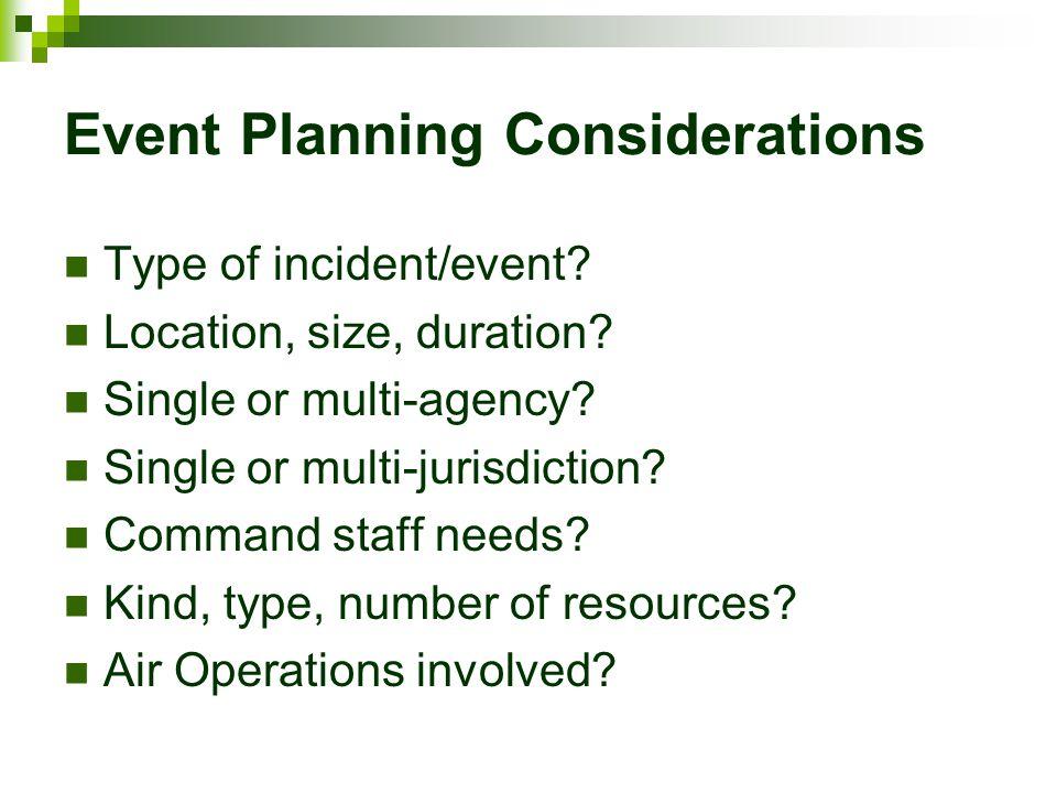 Event Planning Considerations