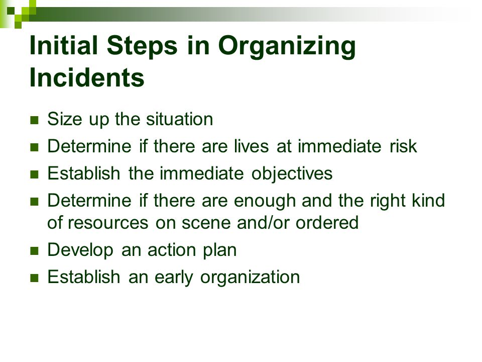 Initial Steps in Organizing Incidents