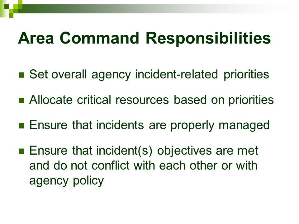 Area Command Responsibilities