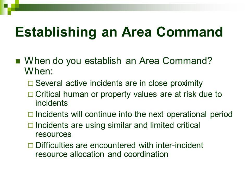 Establishing an Area Command