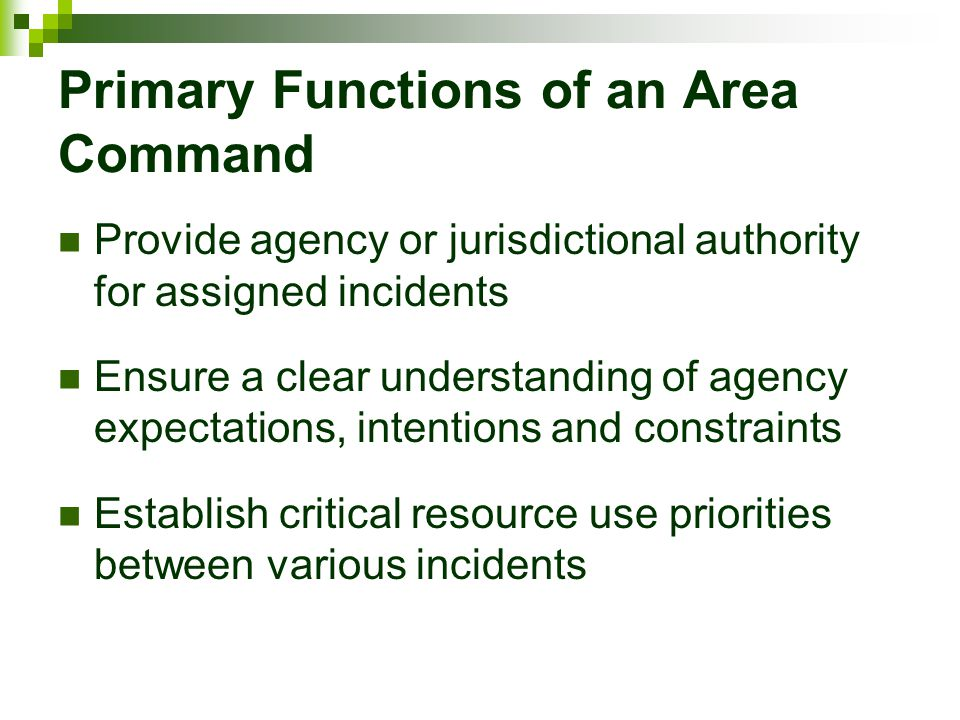Primary Functions of an Area Command