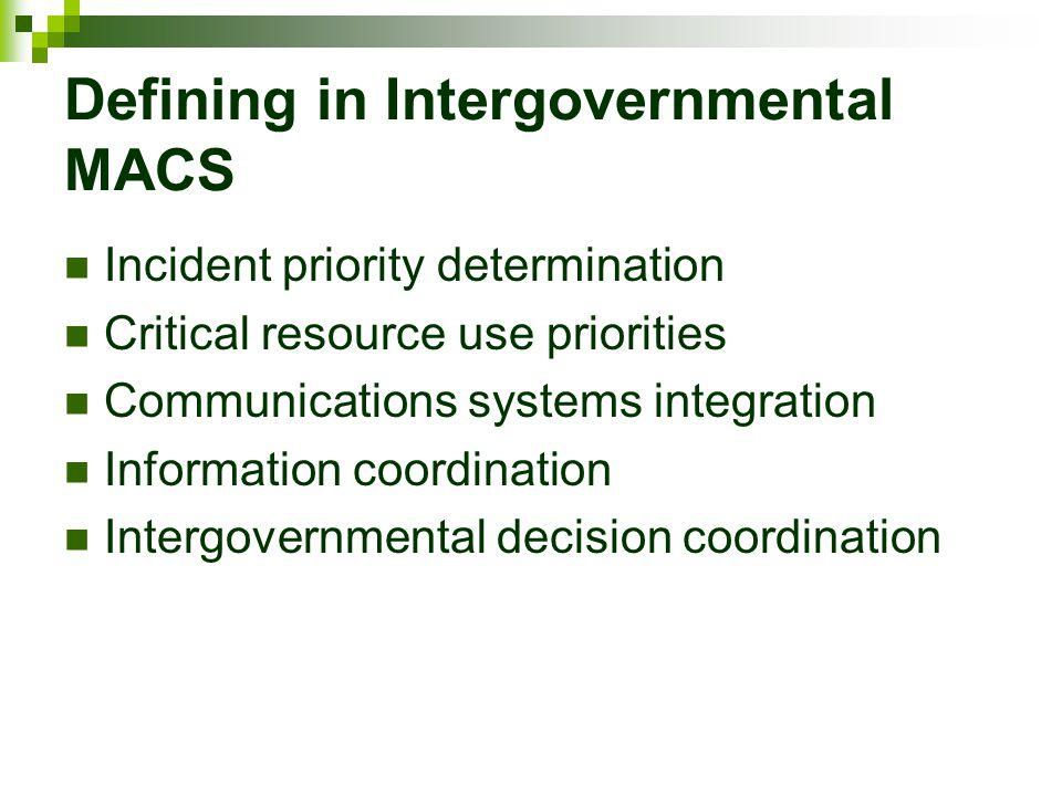 Defining in Intergovernmental MACS