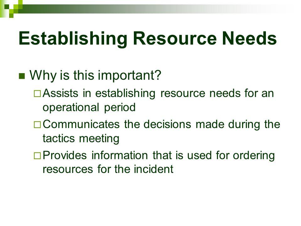 Establishing Resource Needs