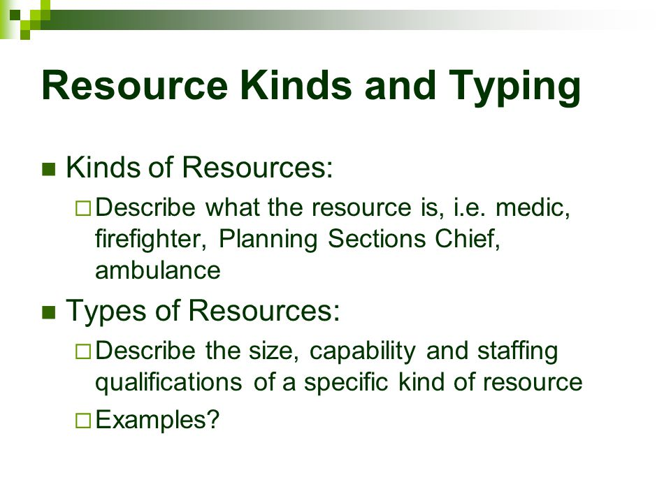 Resource Kinds and Typing