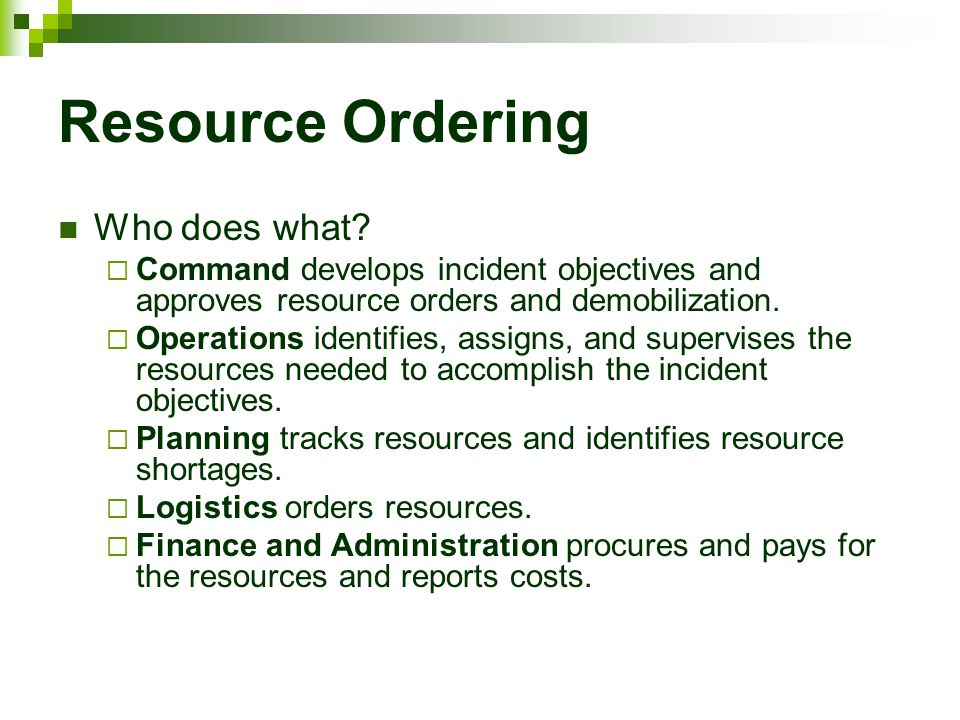 Resource Ordering Who does what