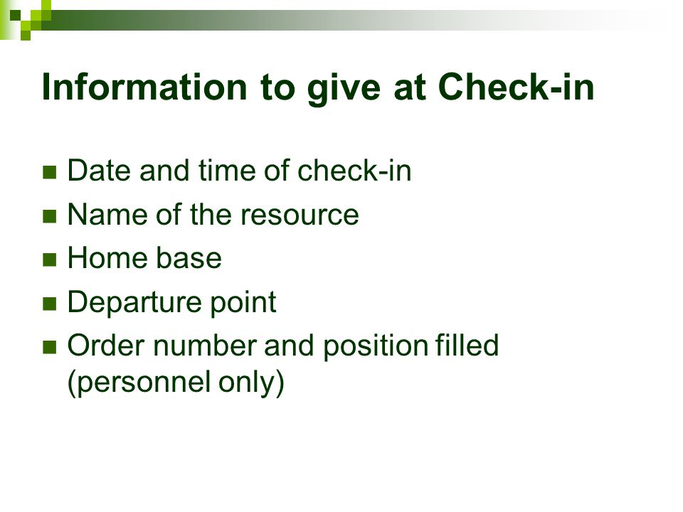 Information to give at Check-in