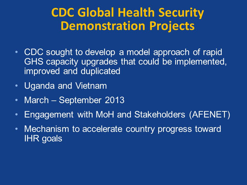 CDC Global Health Security Demonstration Projects