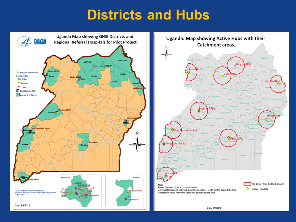Districts and Hubs Coverage for the GHS project