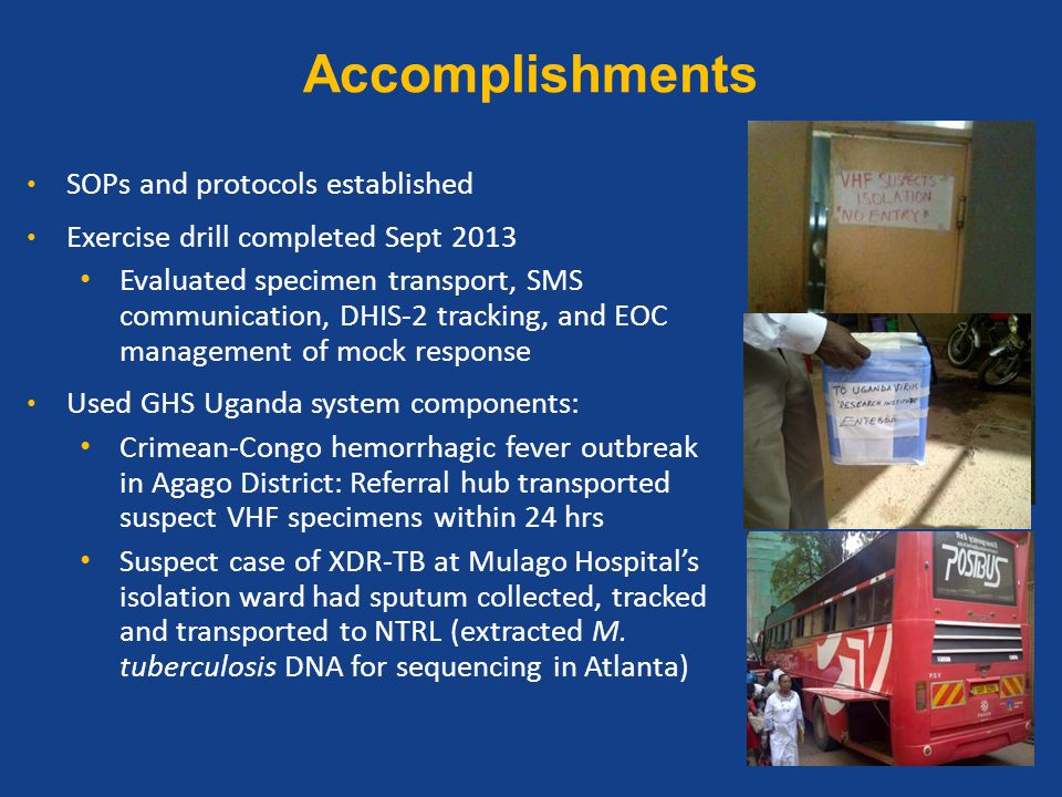 Accomplishments SOPs and protocols established