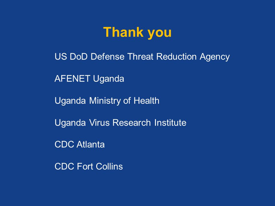 Thank you US DoD Defense Threat Reduction Agency AFENET Uganda
