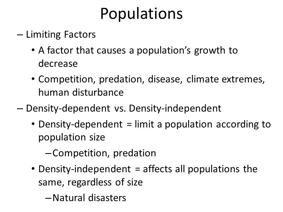Populations Limiting Factors