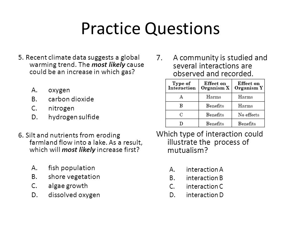 Practice Questions 5. Recent climate data suggests a global warming trend. The most likely cause could be an increase in which gas