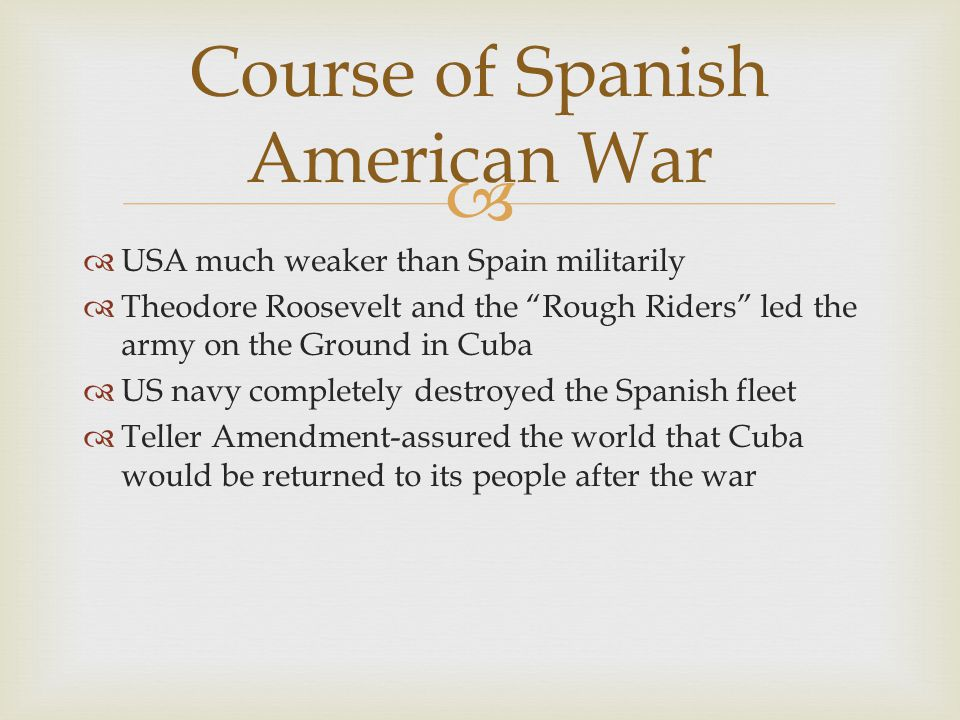 Course of Spanish American War