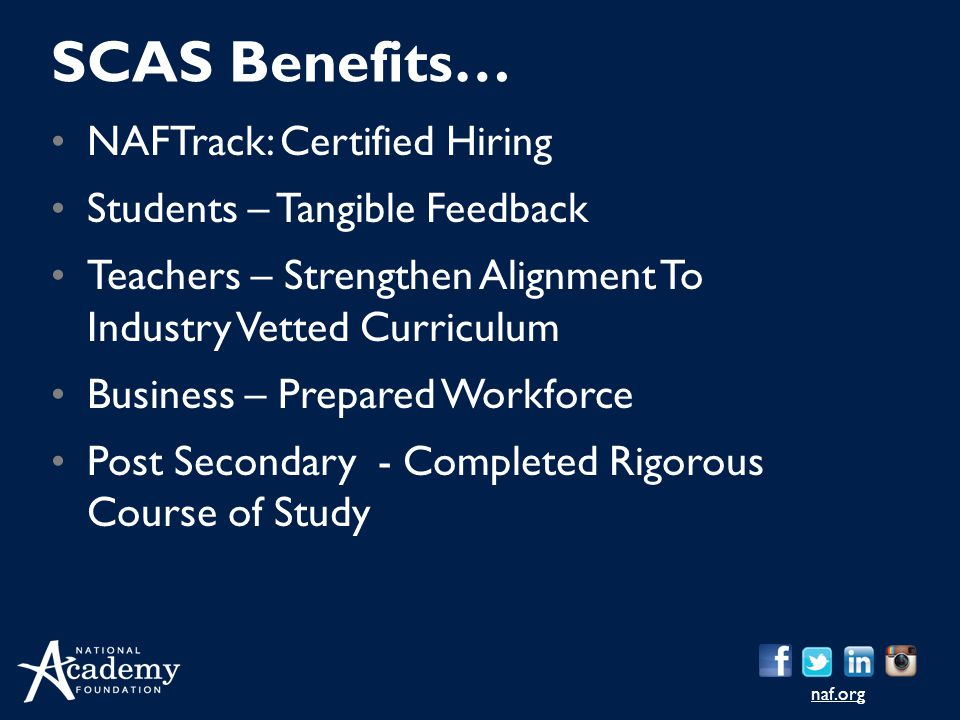 SCAS Benefits… NAFTrack: Certified Hiring Students – Tangible Feedback