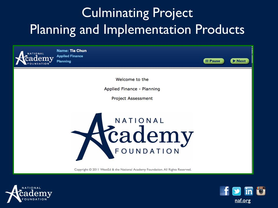 Culminating Project Planning and Implementation Products
