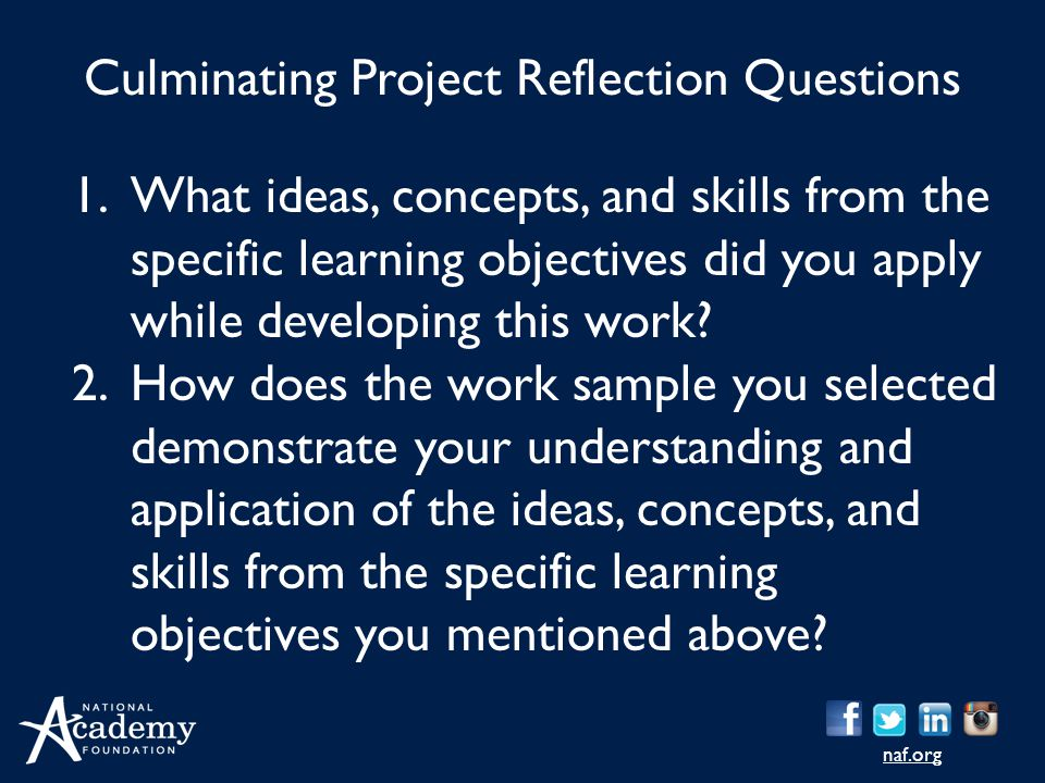 Culminating Project Reflection Questions