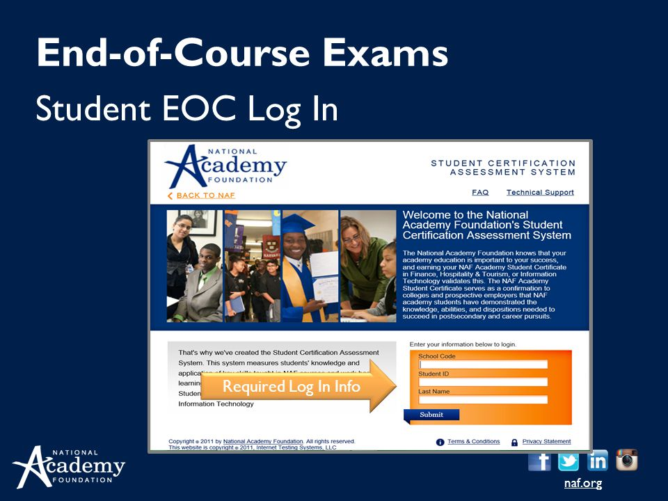End-of-Course Exams Student EOC Log In Required Log In Info Log in