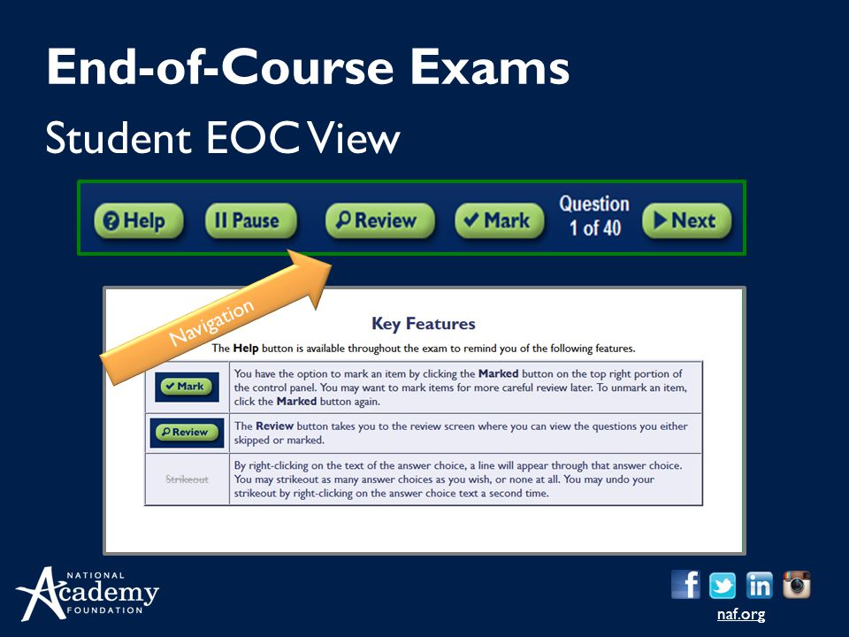 End-of-Course Exams Student EOC View Navigation