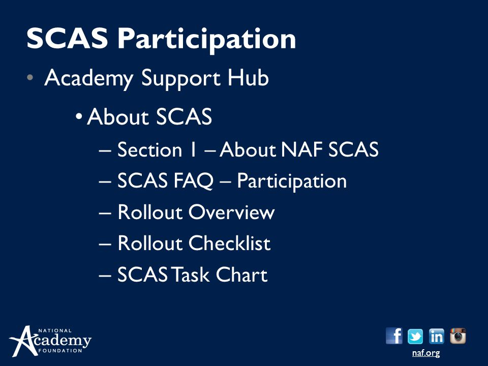 SCAS Participation Academy Support Hub About SCAS