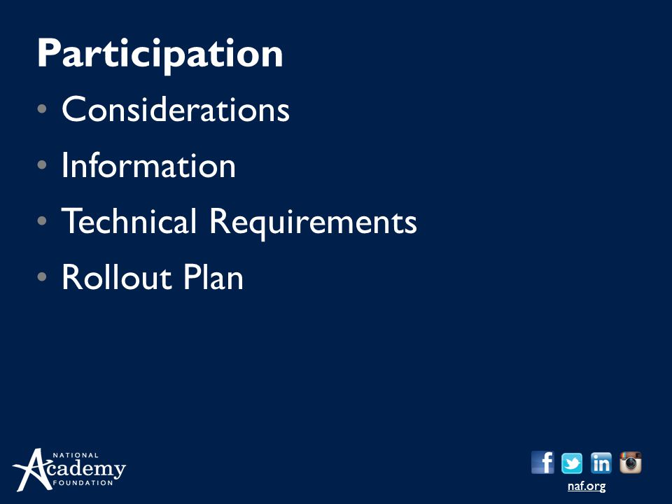 Participation Considerations Information Technical Requirements