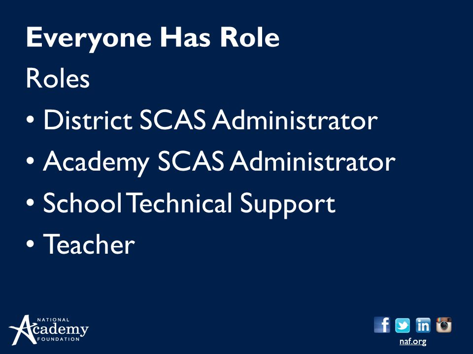 District SCAS Administrator Academy SCAS Administrator