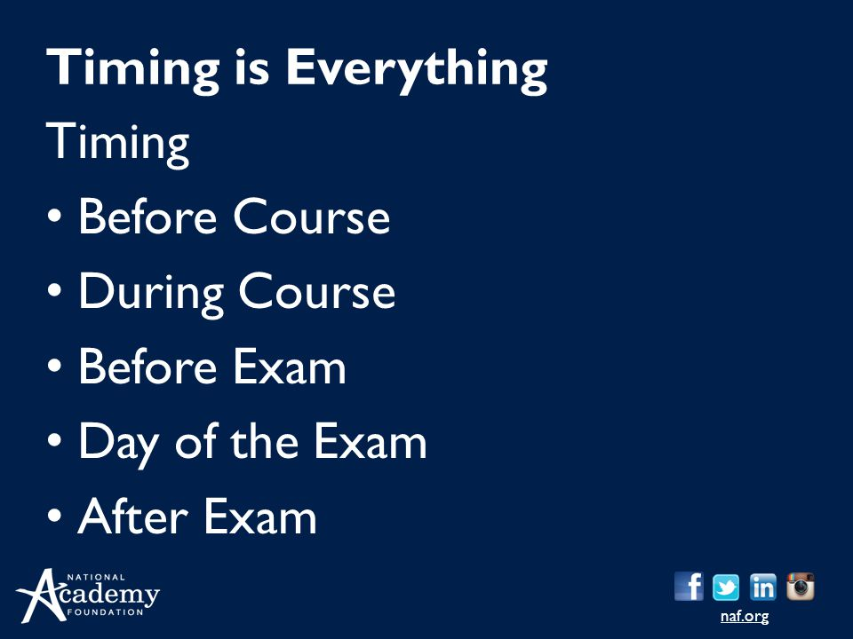 Timing is Everything Timing Before Course During Course Before Exam