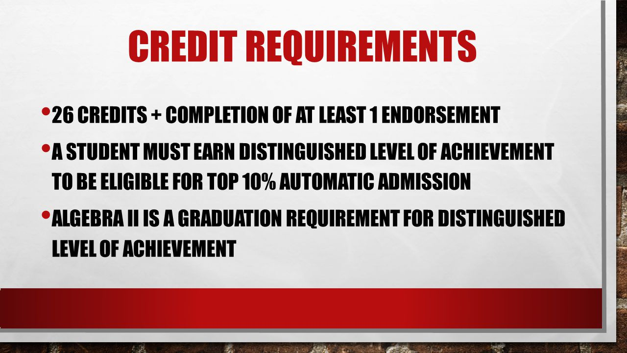 Credit Requirements 26 credits + completion of at least 1 endorsement