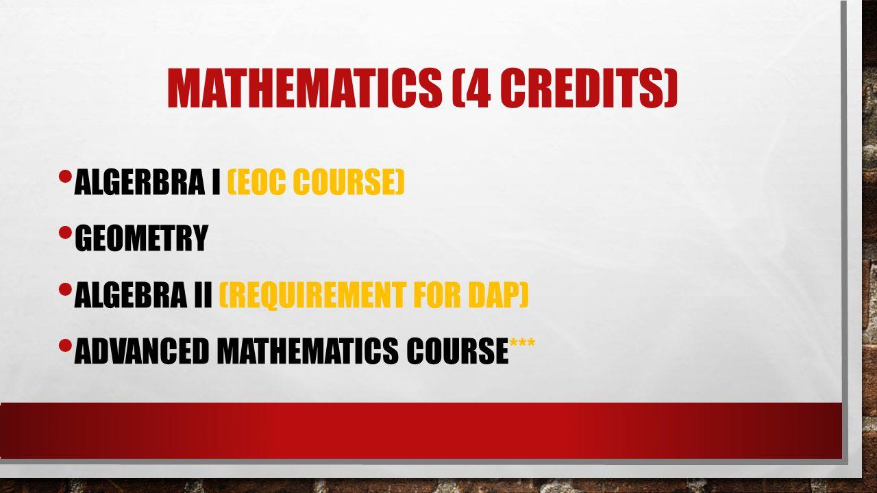 Mathematics (4 credits)