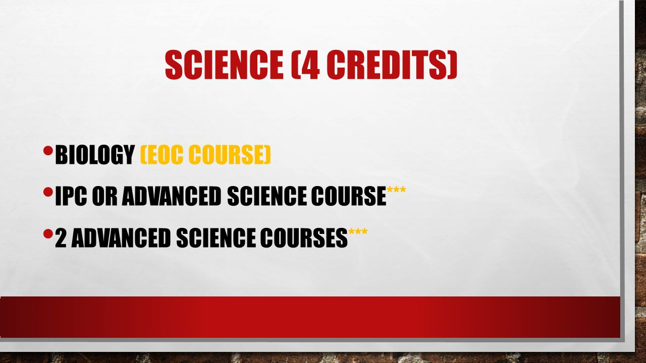 Science (4 credits) Biology (eoc course)