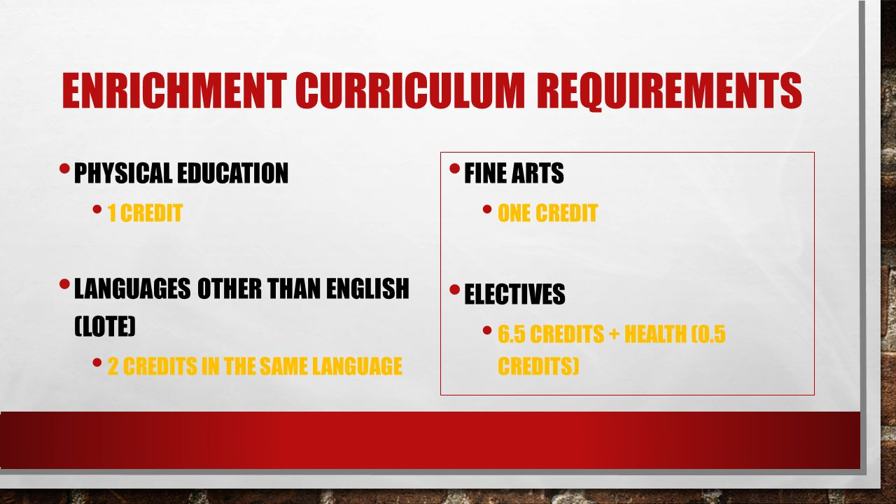 Enrichment Curriculum requirements
