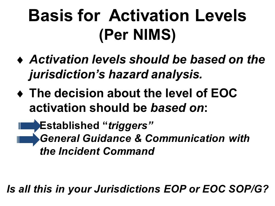 Basis for Activation Levels (Per NIMS)